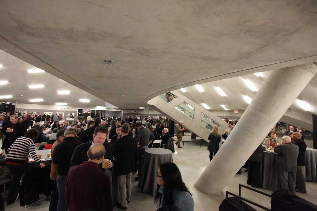A view from under the Milstein Hall bridge at the Saturday morning breakfast with faculty.