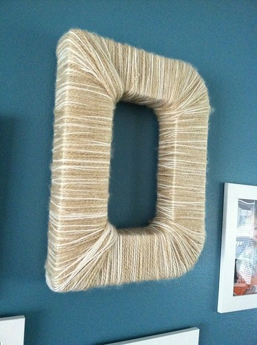 "yarn wrapped ""D"""