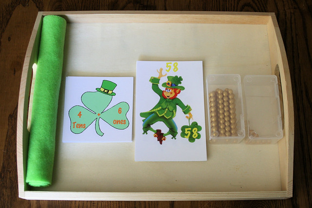 St. Patrick's Day Place Value Tray