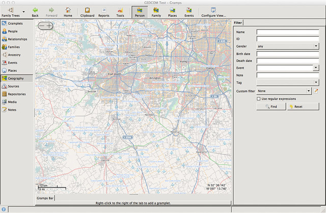Mac OS X - Gramps Genealogy Software - Maps