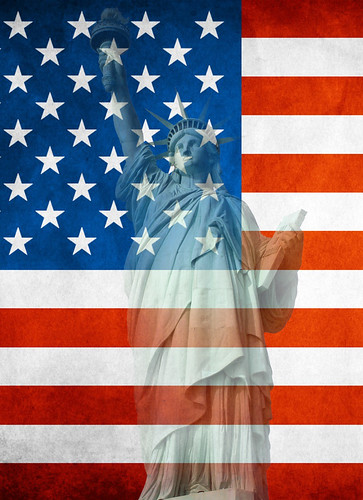 [Free Images] Graphics, National Flag, National Flag - United States of America, Statue of Liberty ID:201203210400