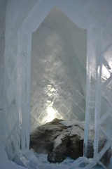 arch(0.0), ice cave(0.0), formation(0.0), freezing(0.0), snow(1.0), ice hotel(1.0), ice(1.0),