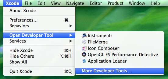 Obtaining additional developer tools from within Xcode