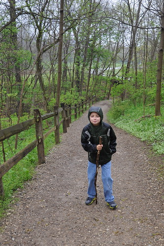 Carson hamming it up with his hiking stick