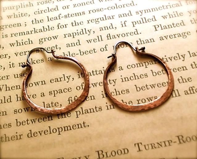 Copper Hoop Earrings with Silver Ear Wires