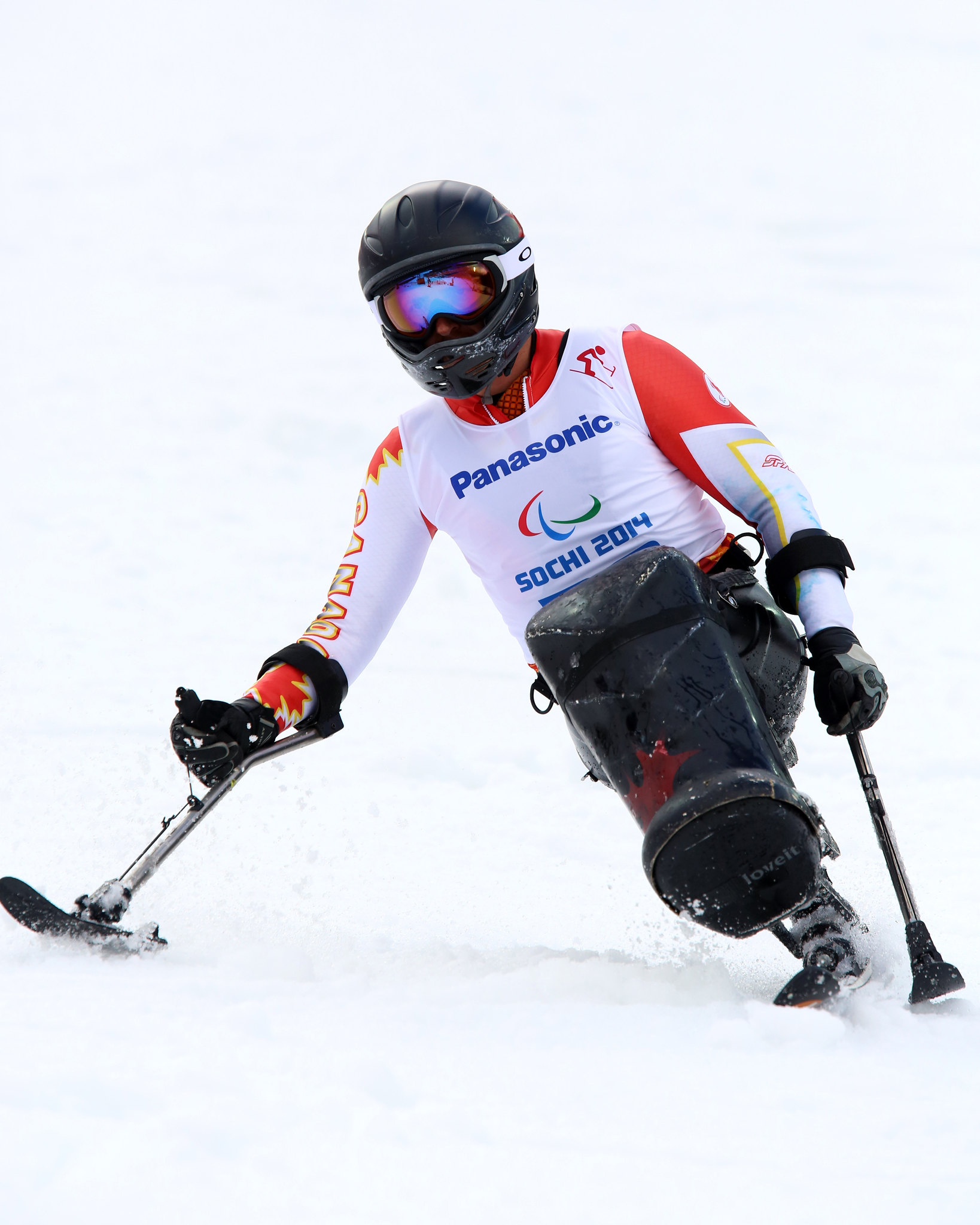 Josh Dueck competes in the Slalom at the Paralympic Winter Games in Sochi, RUS