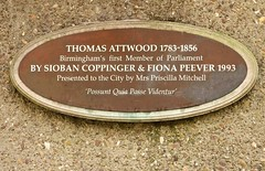 Photo of Thomas Attwood brown plaque