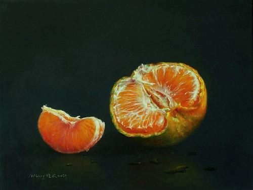 梁培政油畫靜物作品 Artliang oil painting still life orange