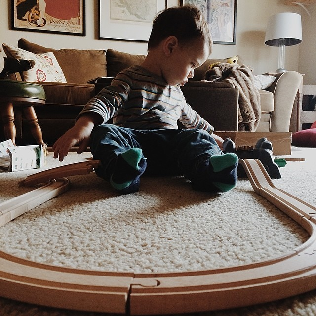 Laying track like a boss. #instaluther #toddler #trainman