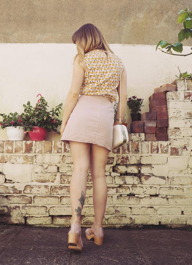 zara floral top asos pink wrap skirt