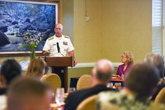 Adm. Scott Swift speaks during a luncheon where the United Services Organization (USO) provided an update on future plans throughout the Pacific.  (U.S. Navy/MC2 Brian Wilbur)