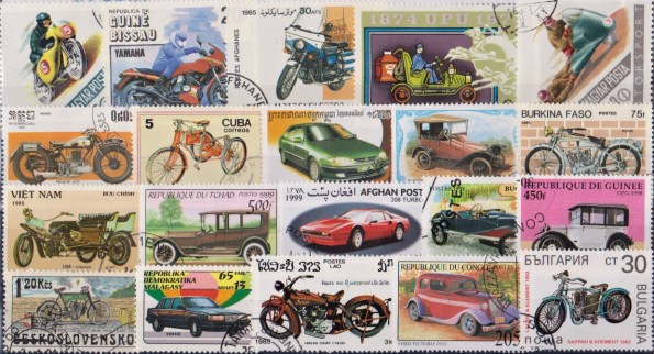 Známky - 50 rôznych, automobily a motorky