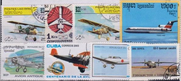 Známky - 25 rôznych, lietadlá - letectvo