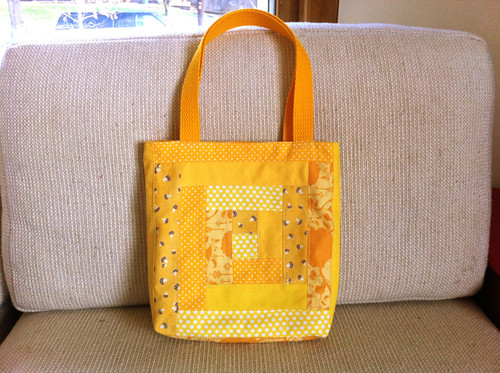 Bright Furrows patchwork tote