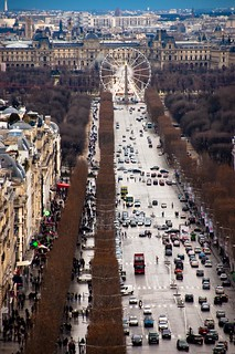 Champs elysees avenue at triumphal arch, France