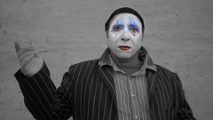 clothing, white, mime artist, head, black,