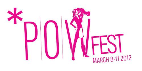 POWFest logo: pink type with a slim woman holding a videocamera on her shoulder