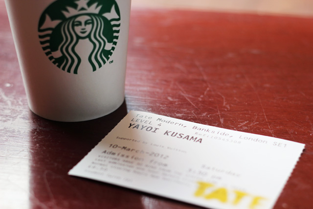 starbucks coffee cup exhibition ticket