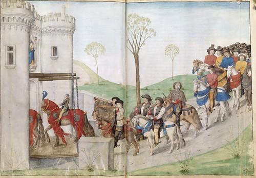 012-Le libre des tournois…1460- René d' Anjou-Français 2692, fol. 37v-38, Tournoi -Entrada de un caballero participante del Torneo