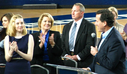 ORU College Republicans president Kara Evans, State Rep. Pam Peterson applaud Rick Santorum as he prepares to speak at ORU Mabee Center (MDB20761) by Michael Bates, on Flickr