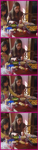 Rosie and Izzy making Valentines Day Cupcakes
