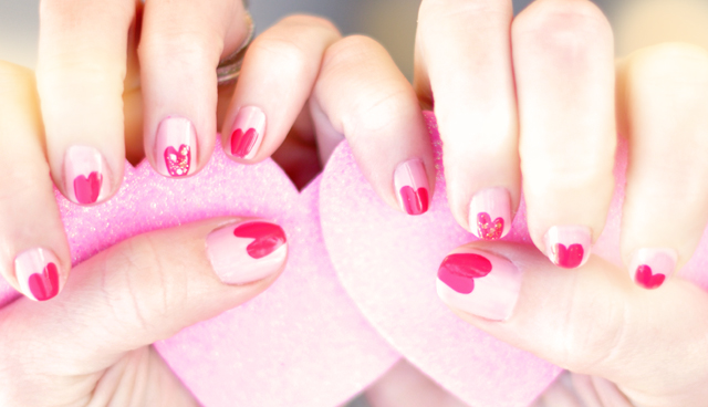 valentines day pink heart nails