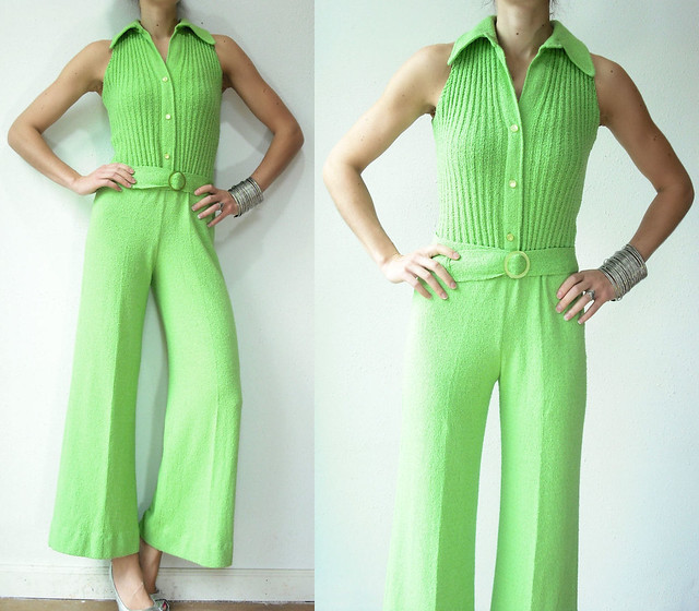 lime green knit jumpsuit