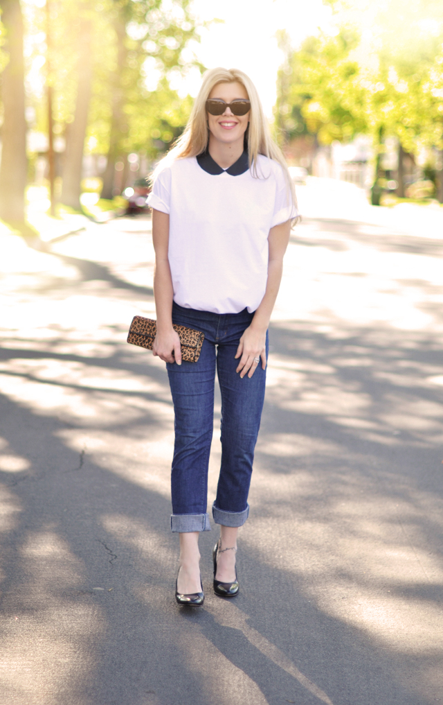 cuffed jeans-white tshirt-collar necklace diy-leaopard clutch