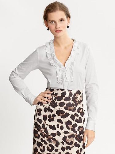 White ruffle-front shirt