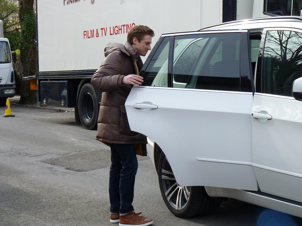 Arthur Darvill leaving the location.