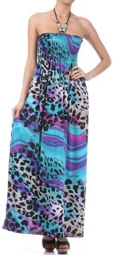 Leopard Wave Graphic Print Maxi Dress