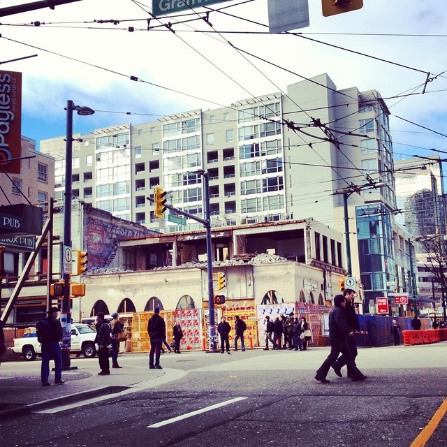 Building at Granville & Robson is coming down now