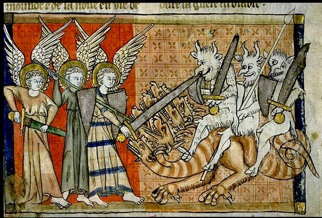 >2. Saint Michel image 2. . et ses anges combattant le dragon de l'Apocalypse. Le Dragon de l'Apocalypse est précipité sur terre avec ses anges (diables). 1220-70 France. Bib. de Toulouse