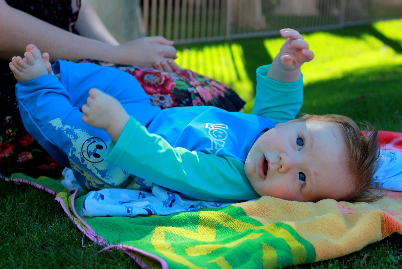 First time lying on grass in the sun