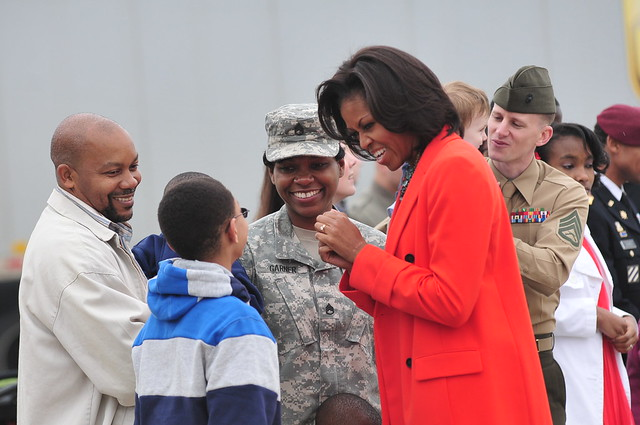 Michelle Obama greets military at RDU from Flickr via Wylio