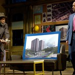 Elder Joseph Barlow (Anthony Chisholm, l.) brings the first of many tax payments to Harmond Wilks (Hassan El-Amin) in order to save his home in the Huntington Theatre Company's production of August Wilson's <i>Radio Golf</i> at the Boston University Theatre. Part of the 2006-2007 season. Photo: Eric Antoniou.