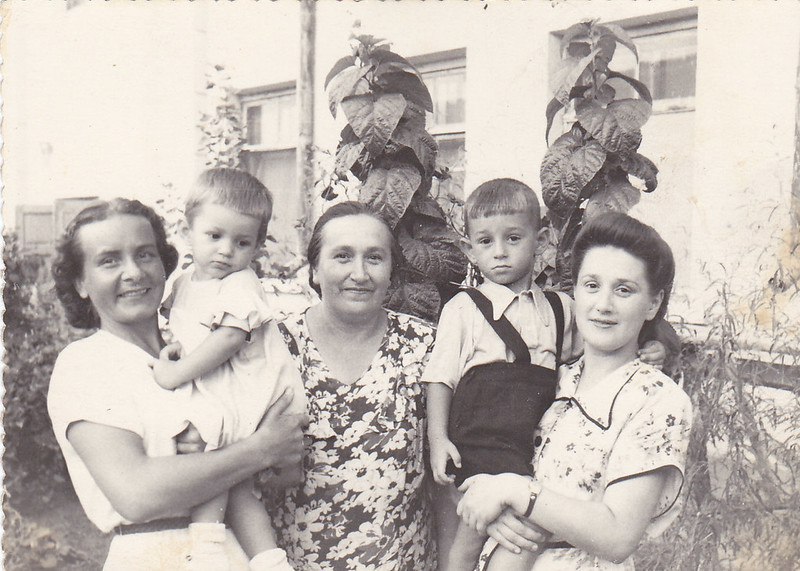 Great grandmother, grandmother and great aunt with my father and aunt