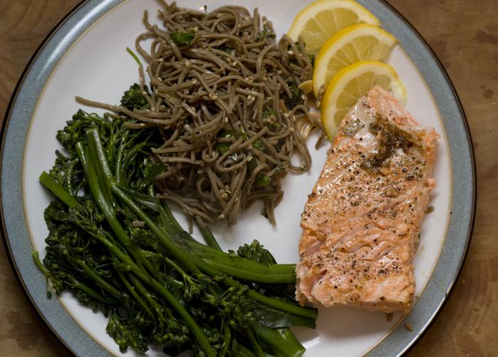Alaska King Salmon, Brocollini, and Sesame Soba Noodles.