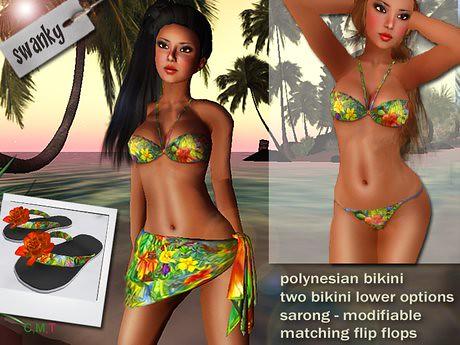 Swanky - polynesian bikini set, 99 lindens by Cherokeeh Asteria