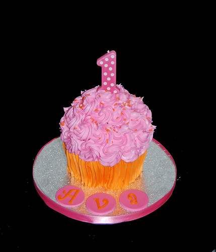 pink and orange jumbo cupcake smash cake