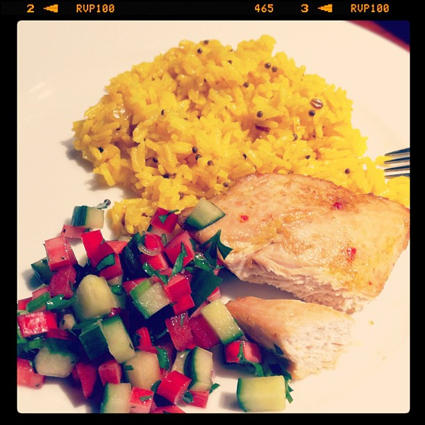 Dinner::Spicy Chicken Breast with Rhubarb-Cucumber Salsa::Spiced Lemon Rice