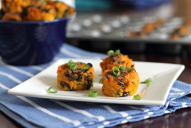 Sweet potato kale bites with beans