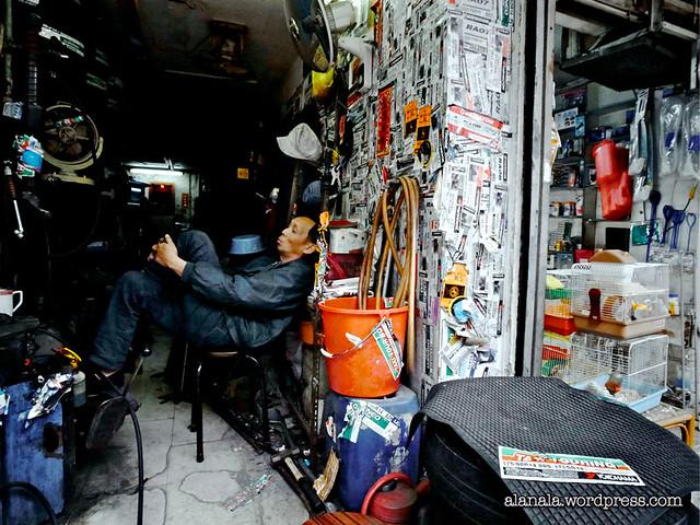 Napping at an auto repair garage