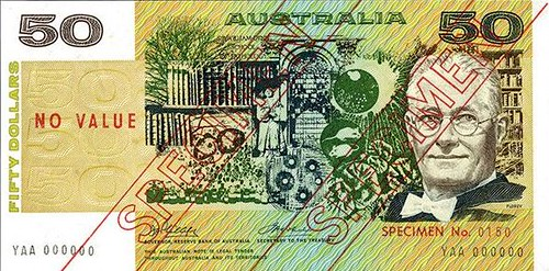 Australia, Reserve Bank, ND (1974) Issue $50 Specimen Banknote
