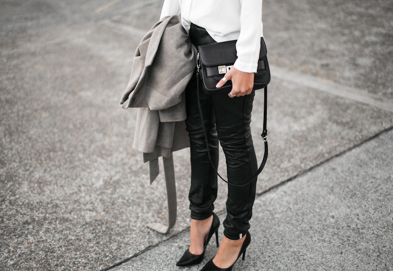 modern legacy blog street style leather pants One Teaspoon trackies Zara camel coat oversized white shirt Blessed Are The Meek Diavolina pointed pumps Proenza Schouler PS 11 Mini bag fashion blogger ootd workwear spring (3 of 6)