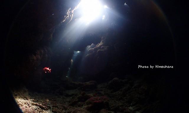 最終ダイブも穴ぼこへイン。小さな入り口をくぐると小さな穴に光が射しこんで美しかった~