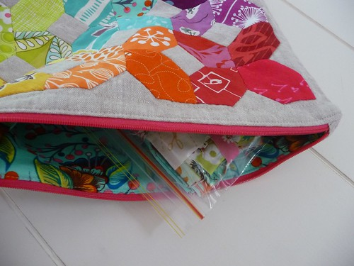 Mouthy Stitches pouch and fabric scraps