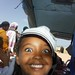 happy girl on refugee camp