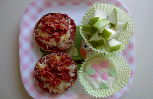 Muffin Tin Monday: Pizza Bagel, Pear, and Yogurt