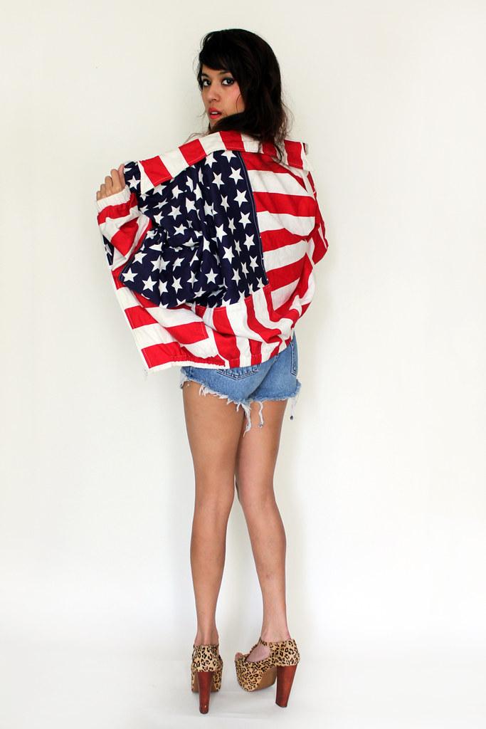 vintage flag bomber jacket